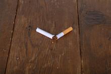 Closeup Of A Broken Cigarette ...