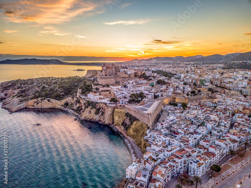 Aerial view of stunning sunset over Ibiza (Evissa) during a winter evening with Canvas Print
