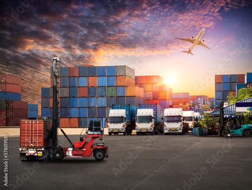 Logistics and transportaIndustrial Container Cargo freight ship, forklift handli Fototapeta