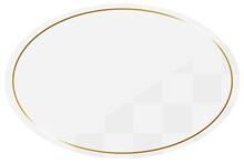 楕円形のフレーム ホワイト&ゴールド 一部に市松模様
