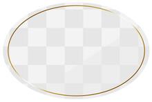楕円形のフレーム ホワイト&ゴールド 全面に市松模様
