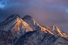 Closeup Of Mount Olympus Above Salt Lake City Utah At Sunset In Winter