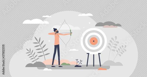Carta da parati Archery as aim arrows accuracy sport and target reaching tiny person concept