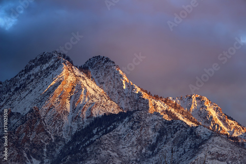 Closeup of Mount Olympus Above Salt Lake City Utah at Sunset in Winger Canvas Print