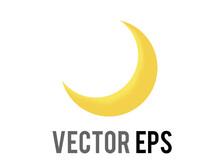 Vector Thin Gradient Golden Yellow Crescent Moon Emoji Icon