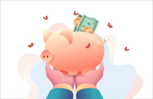 Big Hands Of CEO Of Head Are Holding Piggy Bank With Money. Concept Of Savings Money Retirement Under Protection Of Leader. Metaphor Of Investment, Capital Accumulation. Perks Benefits For Personnel