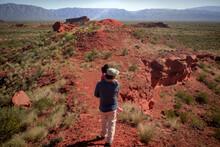 Person Walking In The Desert Los Colorados, La Rioja, Argentina