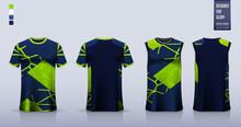 Blue Green Abstract Pattern T-shirt Sport, Soccer Jersey, Football Kit, Basketball Uniform, Tank Top, And Running Singlet Mockup. Vector.