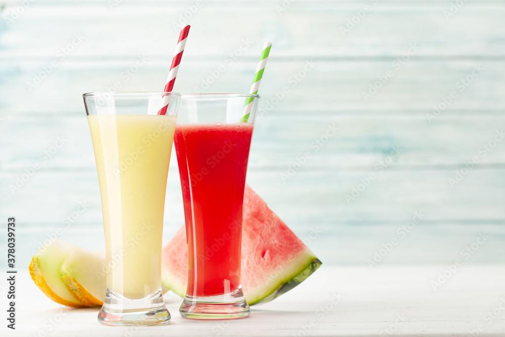 Fototapeta Watermelon and melon smoothie