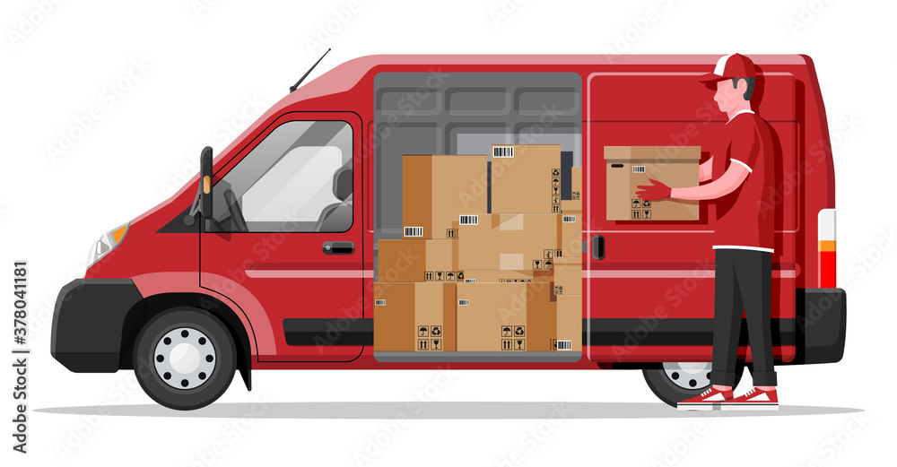 Fototapeta Delivery van full of cardboard boxes isolated on white. Express delivering services commercial truck. Concept of fast and free delivery by car. Cargo and logistic. Cartoon flat vector illustration