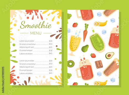 Fototapeta Smoothie Menu Template, Healthy Vitamin Drinks Restaurant or Cafe Brochure, Natural Detox Cocktails Cover Vector Illustration obraz