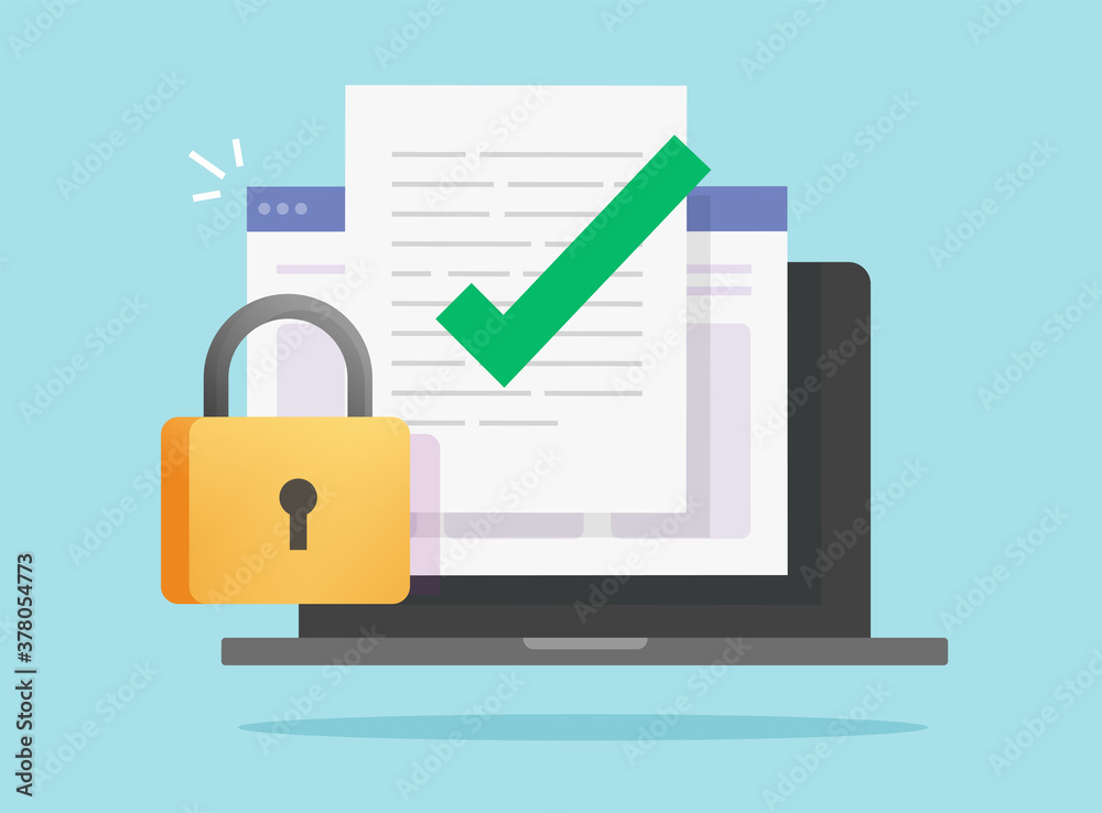 Fototapeta Document data secure confidential online access locked on laptop computer vector or internet web text file privacy protection block flat icon, concept of private secret digital electronic lock