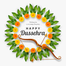 Happy Dussehra Banner. Bow And...