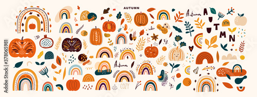 Vector collection with autumn symbols and elements. Autumn pumpkins and Rainbows