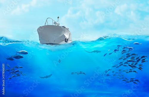 Small boat in the sea. Large school of fish in the ocean. Underwater world with sea animals.