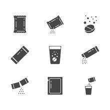 Sachet Glyph Icons. Vector Ill...