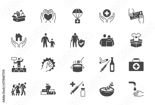 Foto Charity, social worker glyph icons