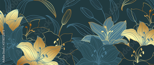 Fototapeta luxury gold floral line art wallpaper vector. Exotic botanical background, Lily flower vintage boho style for textiles, wall art, fabric, wedding invitation, cover design Vector illustration. obraz