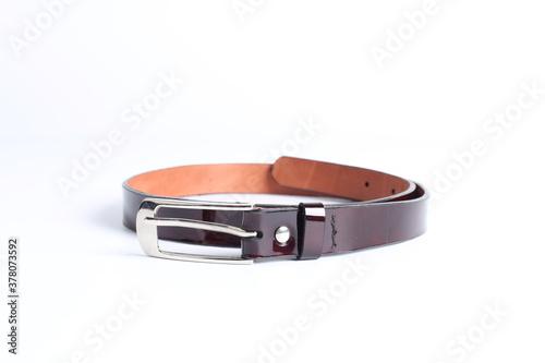 Cuadros en Lienzo Brown belt on a white background.