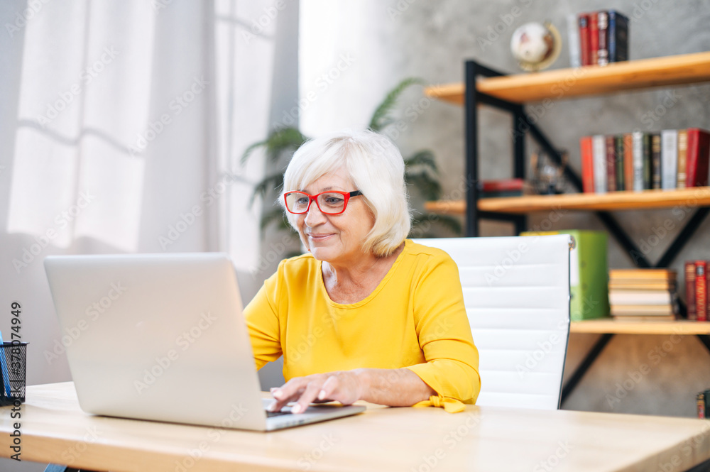 Fototapeta Older woman in smart casual wear and eyeglasses using laptop for work indoor. Beautiful grey-haired lady in the office