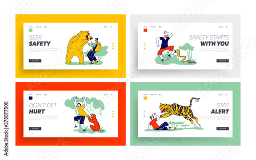 Characters Attacked with Wild Animals Landing Page Template Set Canvas Print