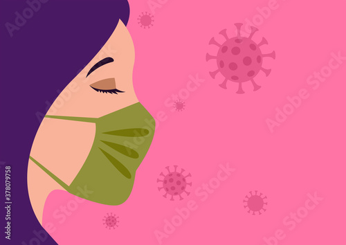Fototapeta Woman face wearing a medical mask to prevent viruses obraz