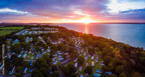 Obraz na plátně Aerial view of Caravan park at the Isle of WIght