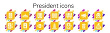 Modern Simple Set Of President Vector Filled Icons