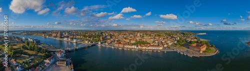 Cuadros en Lienzo Aerial view  of city, harbor and castle in Sonderborg, Jutland, Denmark, Europe