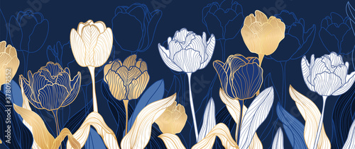 luxury gold floral line art wallpaper vector. Exotic botanical background, Tulip flower vintage boho style for textiles, wall art, fabric, wedding invitation, cover design Vector illustration. - 378092552