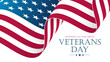 USA Veterans Day celebrate banner with waving United States national flag. American national holiday vector illustration.