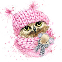 Cute Owl Watercolor Illustrati...