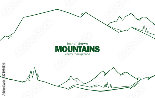 Cuadros en Lienzo Vector illustration: Hand drawn abstract mountains background with pines for web design