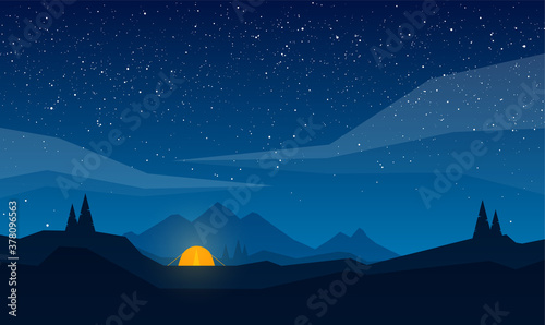 Fototapeta Vector Night mountains landscape with tent camp, geometric clouds and star sky