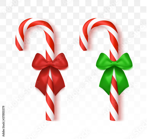 Fotografie, Obraz Christmas candy cane with red bow