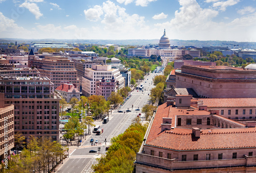 Canvas Print Panorama from above of Pennsylvania Avenue and United States Capitol Building towards USA Congress on National Mall in Washington, D