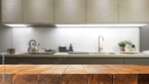 Photo Table background of free space and kitchen interior