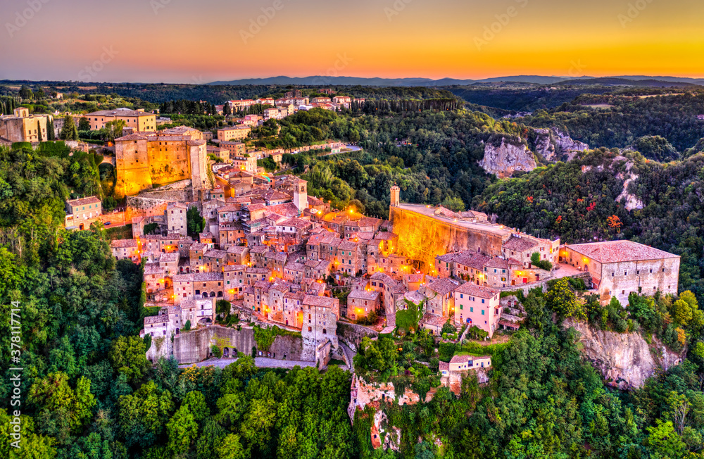 Sorano, a town in the province of Grosseto, southern Tuscany, Italy