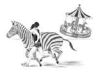 Illustration Of A Girl Running With A Zebra Away From A Zebra Carousel In A Park. A Fairy Tale Scene About Friendship And Courage. Black And White Pencil Sketch Drawing. Isolated On White Background.
