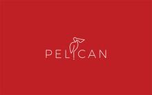 Word Mark Logo Formed Pelican Bird Symbol In Red Background