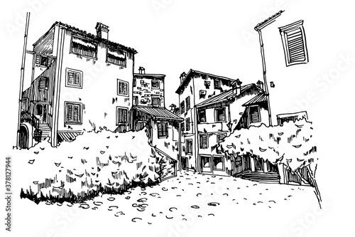 Vászonkép Vector sketch of architecture of Rovinj, Croatia.