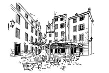 Vector Sketch Of Architecture Of Rovinj, Croatia.