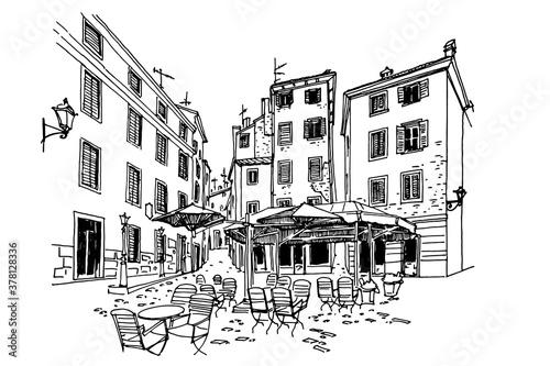 Foto Vector sketch of architecture of Rovinj, Croatia.