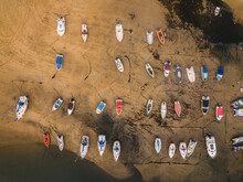 Boats From Above At Low Tide