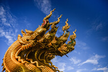 Golden Naga Statue At Golden T...