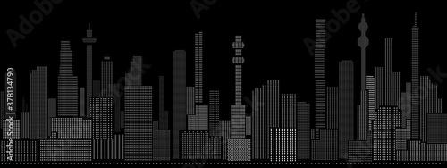Seamless cyberpunk cityscape lights background Fototapet