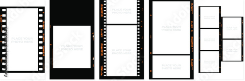 Obraz Set of Social stories filmstrips templates. Film frame background with space for your text or image. Trendy editable camera roll effect design. Lifestyle concept. Vector illustration - fototapety do salonu