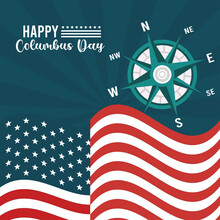 Happy Columbus Day Celebration With Compass Guide And Usa Flag