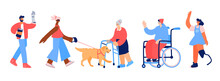 Set Of Characters With Disabilities. People With Leg And Hand Prothesis, Young Man In Wheelchair, Blind Girl With Guide-dog And Old Woman With Walker Isolated On White Background.