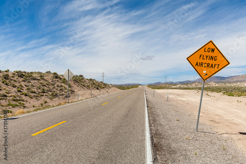 Photo Driving along the 375 - Extraterrestrial Highway there are warning signs alerting drivers to the possibility of low flying aircraft, these would be out of the Groom Lake Military base